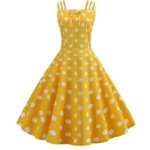 Pinup Yellow Polka Dot Retro 50s Pin Up Dress